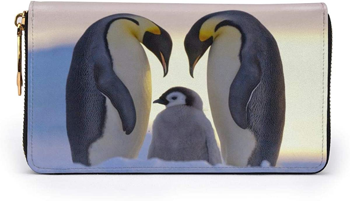 Leather Wallet Lovely Penguin Family Women Men Travel Long Purse Zip Around Clutch Pouch ID Credit Card Coin Wallets