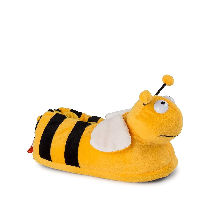 Funslippers lustige Hausschuhe Tiere Erwachsene Tierhausschuhe Größe 36, 37, 38 Schadstoffgeprüft Plüsch Hausschuhe Elch braun mit Gummisohle S