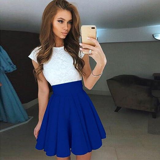 VJGOAL Moda para Mujer de Verano Dulce Sexy Delgada del cordón O-Cuello Manga Corta Colores Brillantes Elegante y Simple Mini Plisado Vestidos: Amazon.es: ...