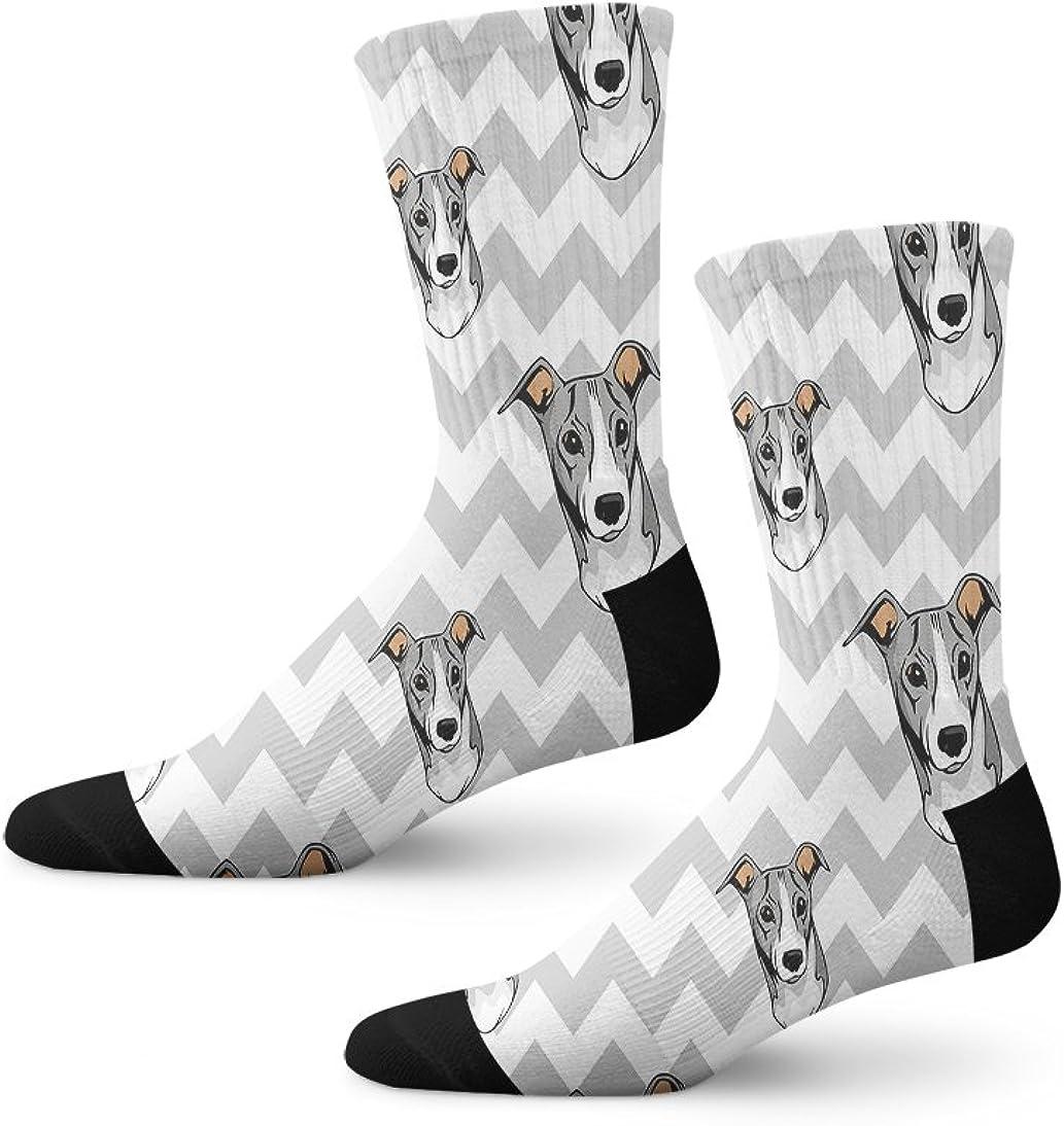 Greyhound Dog Gray Zigzag Pattern Men-Women Adult Ankle Socks Novelty Socks