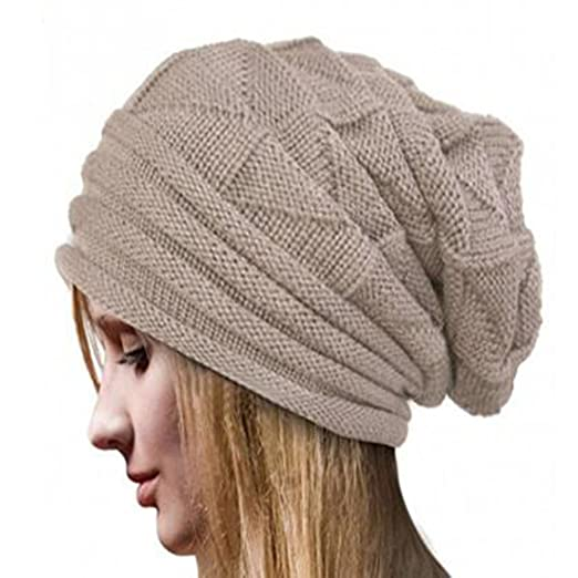 a9feb0e727d8a Roundeel Chunky Cable Knit Slouchy Lightweight Beanie Hat for Women (Beige)