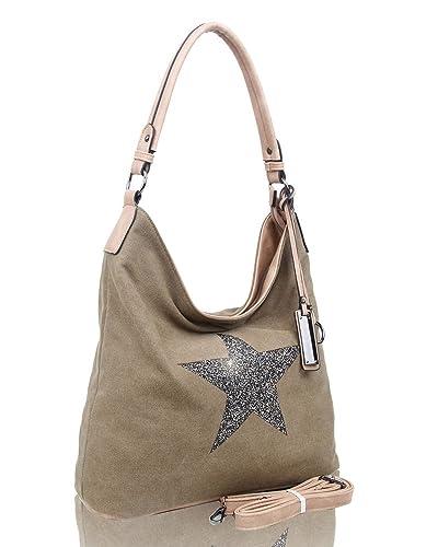 68e46e197 Canvas Casual Sparkling Star Tote Shopper Shoulder Handbag Rhinestone Bag ( almond)