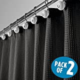 mDesign Hotel Quality Polyester/Cotton Blend Fabric Shower Curtain, Rustproof Metal Grommets - Waffle Weave for Bathroom Showers and Bathtubs, Easy Care - 72'' x 72'', Black, Pack of 2