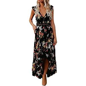 7d9e8c0bb940d Women s Sexy Deep V Neck Backless Floral Print Split Maxi Party Dress -  Women 2019 Summer