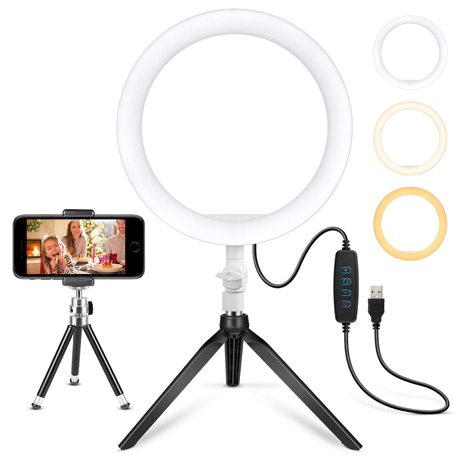"""10.2"""" Ring Light Desk Tripod Stand with Phone Holder LED Selfie Ringlight Kits Dimmable Desktop Lamp Circle Lights for Photography Makeup Video Laptop YouTube"""