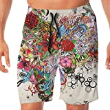 Quick Dry Men's Beach Shorts Flowers Heart Swim Trunks Surf Board Pants Pockets M
