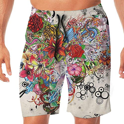 Quick Dry Men's Beach Shorts Flowers Heart Swim Trunks Surf Board Pants Pockets M by Tydo