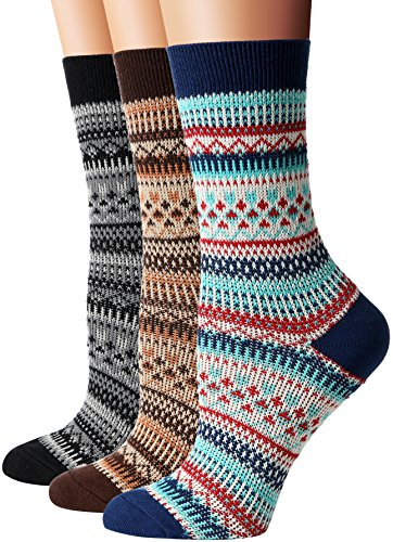 Flora Fred Womens 3 Pair Pack Vintage Highland Cotton Crew Socks Blue Brown Black Shoe Size 8 11