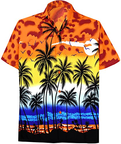 a0c88a72 La Leela Aloha Hawaiian Tropical BEACH Solid plain Mens Casual Short  Sleeves Button Down Tropical Shirts 2XL Orange - Buy Online in Oman.