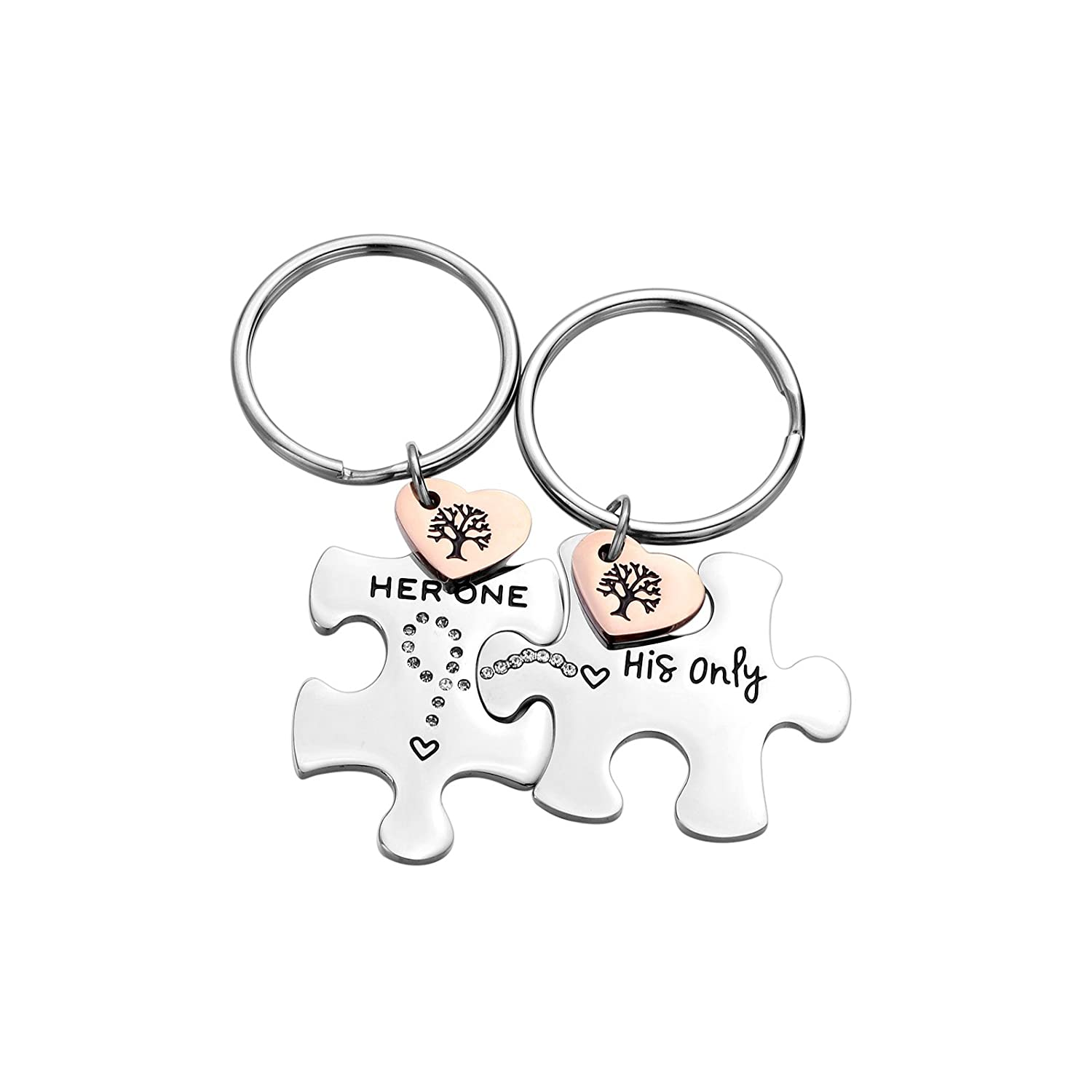 2PC Jewelry Stainless Steel Puzzle Couple Keychain for Him &Her Gift for Girlfriend Boyfriend Best Friend (her one his only)