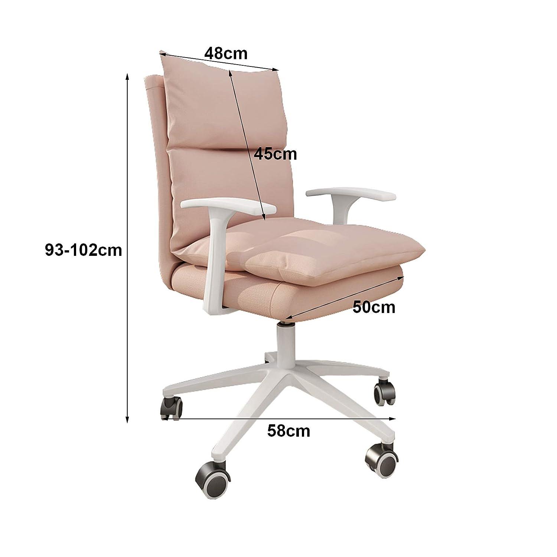 Högrygg svängbar kontorskontorsstol hem ergonomisk datorstol med linne klädsel kudde och ryggstöd, justerbar höjd Khaki