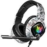 ONIKUMA K19 3.5mm Wired Gaming Headset Over Ear Headphones Noise Canceling E-Sport Earphone with Mic LED Lights Volume…