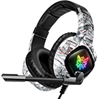ONIKUMA K19 3.5mm Wired Gaming Headset Over Ear Headphones Noise Canceling E-Sport Earphone with Mic LED Lights Volume…