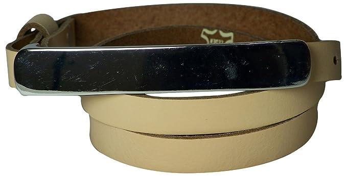 c144104dda3dc0 Fronhofer schmaler Damengürtel 1,2 cm schmal, mit 12 cm langer  silberfarbiger Gürtelschnalle Gürtel