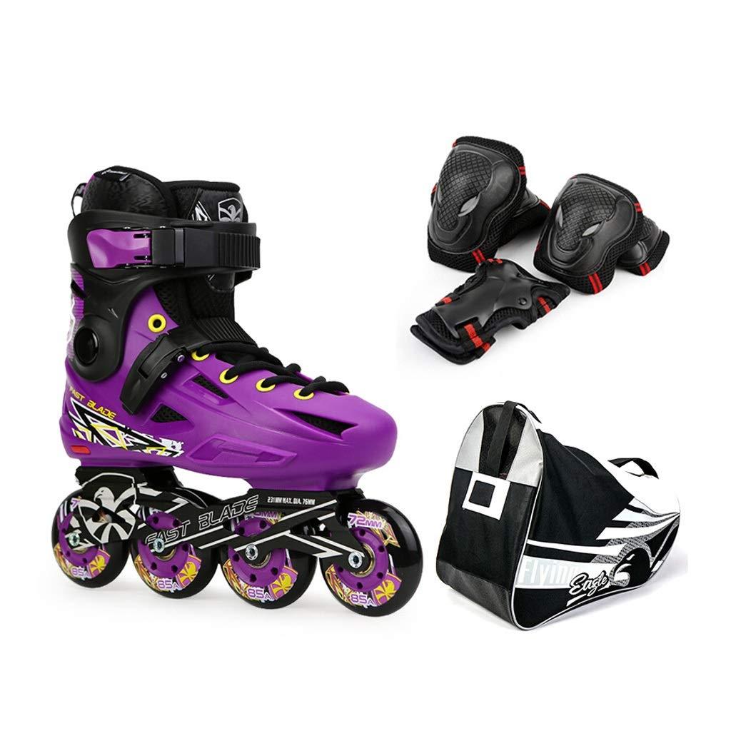 YANG 大人のローラースケート、初心者に適した10代の屋外ローラーブレード、男性、女性、パープル (Size : EU 37)  EU 37