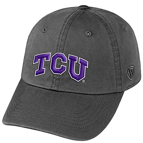 Top of the World NCAA TCU Horned Frogs Male NCAA Men's Adjustable Hat Relaxed Fit Icon, Charcoal (Christian Texas University)