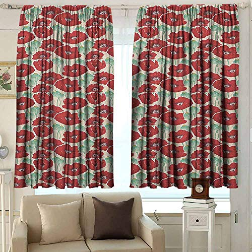 Outdoor Patio Curtains Poppy Spring Garden Pattern with Red Blossoms Seed Capsules and Little Dots Darkening Thermal Insulated Blackout 72 W x 72 L Inches Mint Green Ruby and Beige