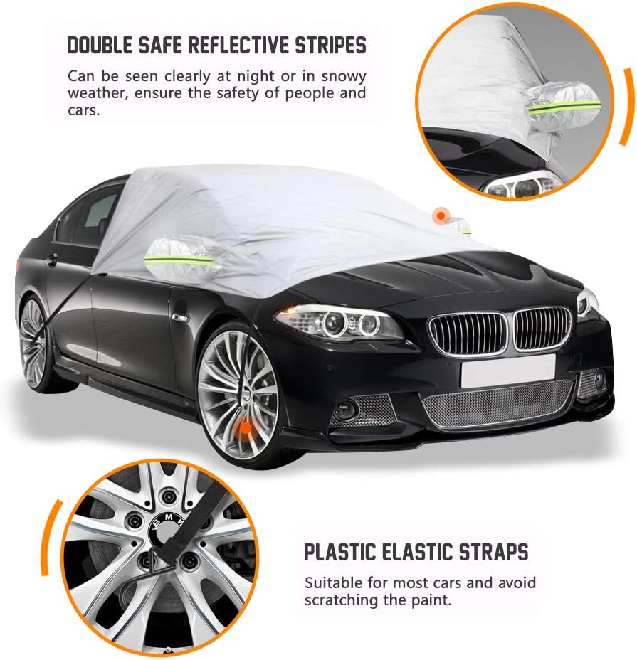 Frost Cover Blocks UV Rays Protection Snow Waterproof Windshield Snow Cover for Most Cars 96x77x65 Inch Dust Ice GES Car Windshield Cover Sunshade