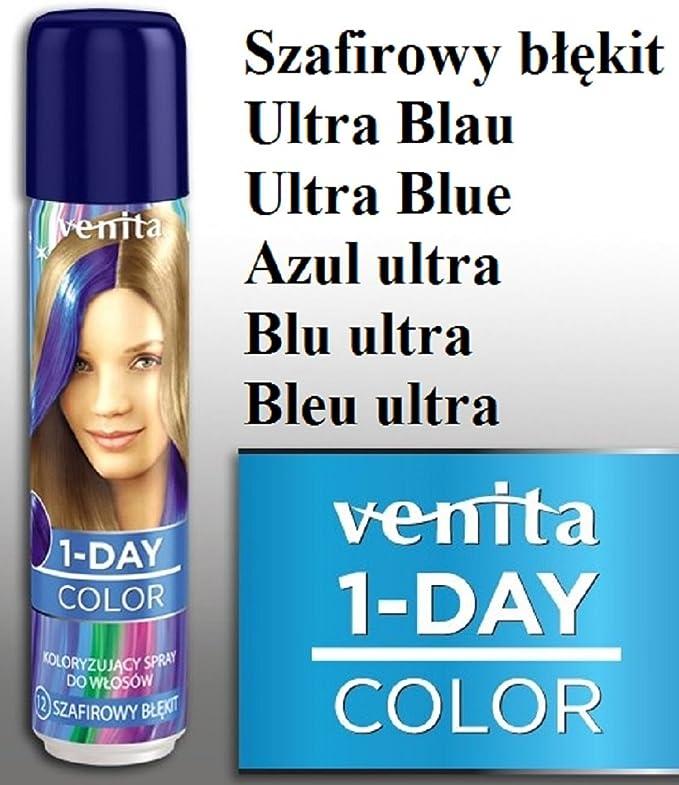 Venita 1-DAY-COLOR Spray para la coloración temporal del cabello. Azul Ultra (Ultra Blue)
