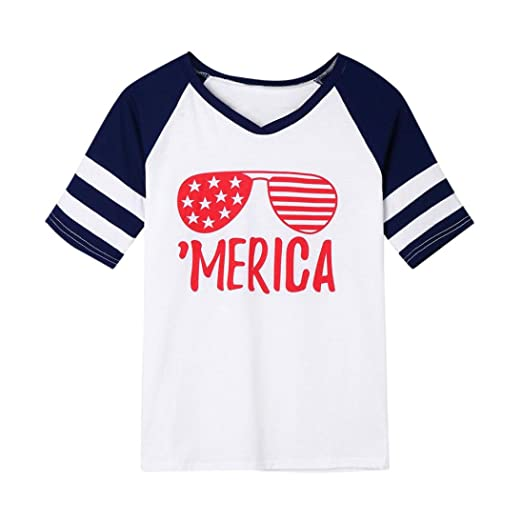 5921bab3c2 Clearance Leyorie Women American Flag Glass Printing T-Shirt Short Sleeve  Casual Tops Blouse Block