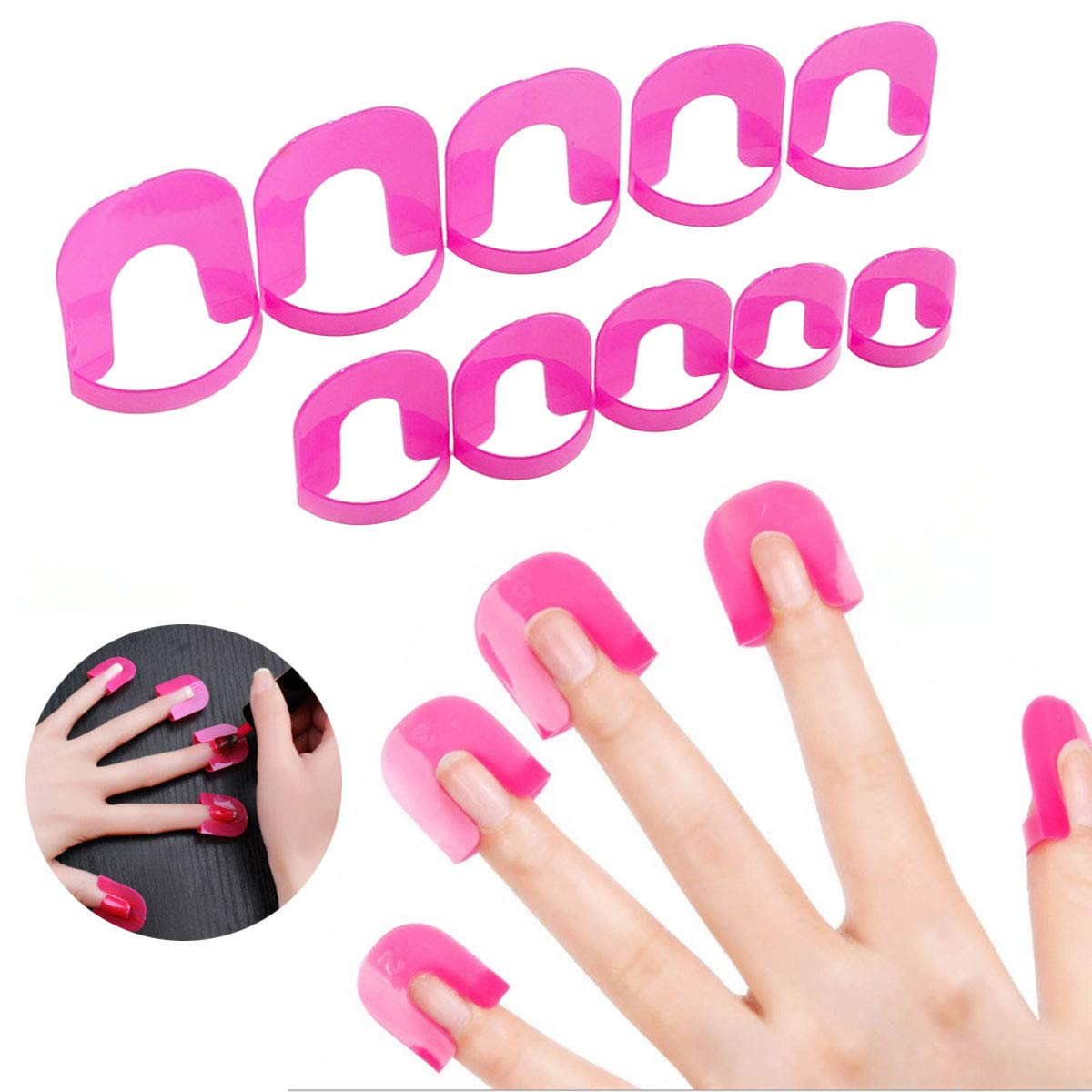 Nail Polish Protector Stencil, 26pcs/pack UV Nail Art Lacquer Palisade Cuticle Guard Skin Barrier Protector Gel Nail Tips Forms Anti Spill Holder Clip Cap Fodlon