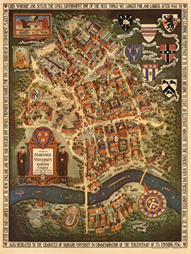 Home Comforts Laminated Poster Illustrated Map of Harvard University, Radcliffe College 24x36 Poster (Harvard University Art)