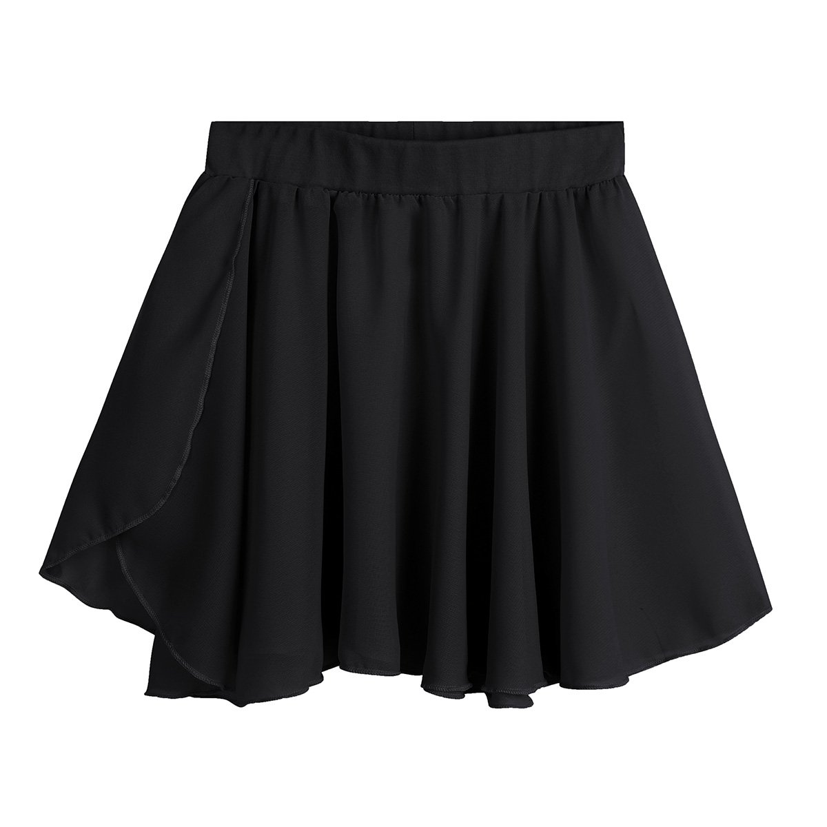 Freebily Kids Girls Dance Basic Classic Chiffon Mini Pull-On Wrap Skirt Black 7-8 by Freebily (Image #1)