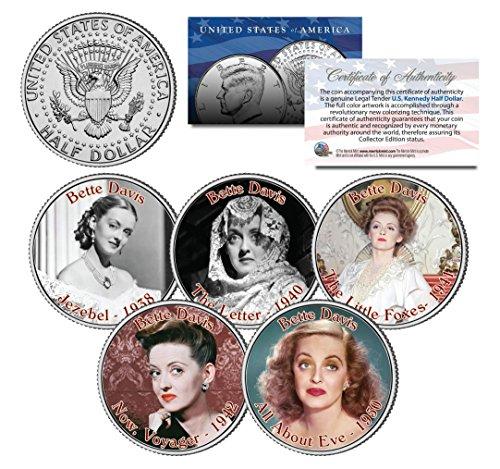 Price comparison product image BETTE DAVIS * MOVIES * Colorized JFK Half Dollar U.S. 5-Coin Set - All About Eve