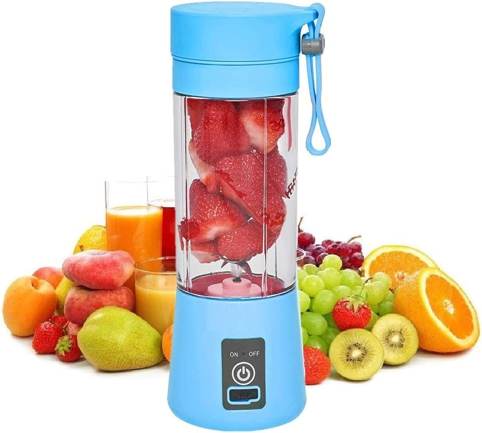 SANSHAAC Portable Blender, 380ml Six 3D Juice cup, Personal Mixer Fruit Rechargeable with USB, Mini Blender for Milk Shakes, Smoothie, Fruit Juice (blue)
