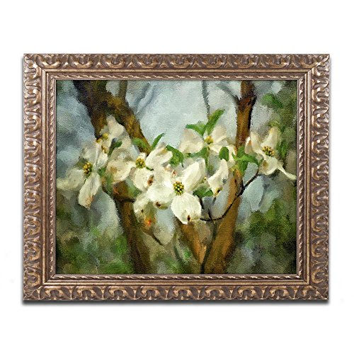 Painted Dogwood by Lois Bryan, Gold Ornate Frame 16x20-Inch