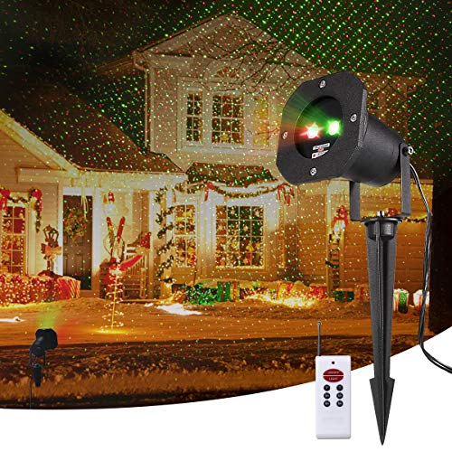 Christmas Projector Lights, Smart&green Lighting Static Laser Christmas Lights Outdoor, Red and Green Decoration Projector Lights Lamp with RF Remote for Christmas Halloween Birthday Wedding Party