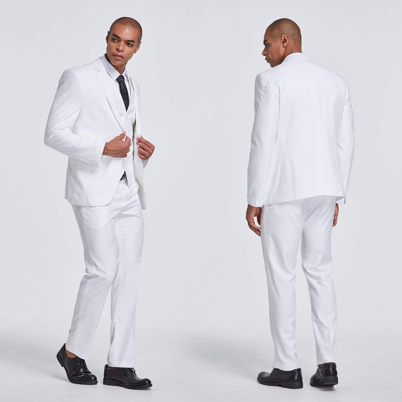 MYS Mens 3 Piece Slim Fit Suit One Button Jacket Blazer Vest Pants Set and Tie