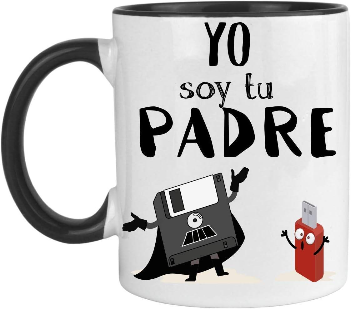 FUNNY CUP Taza Dia del Padre. Yo Soy tu Padre. Regalo Divertido para su día. Frikis papás. (Negro)