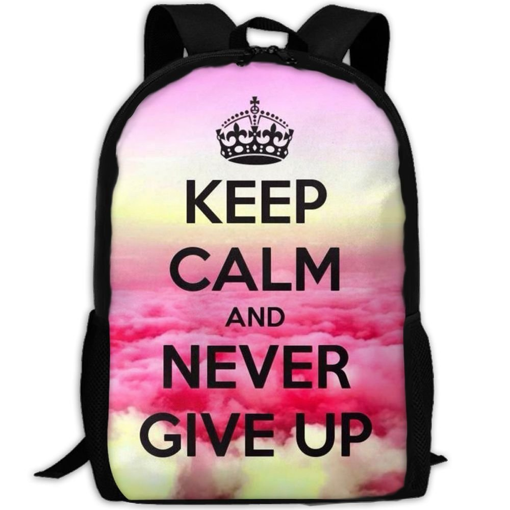 Keep Clam And Never Give Up Double Shoulder Backpacks For Adults Traveling Bags Full Print Fashion
