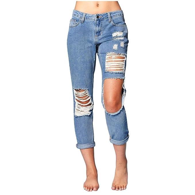 3c4c8ec1fb UOMOGO Donna Strappati Sexy Skinny Jeans Slim A Vita Alta Stretti ...