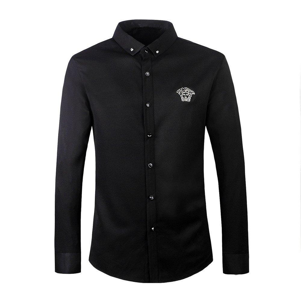 Nvunskd männer Langarm Hemd, Herbst und Winter Langarm Hemd Revers Hemd,schwarz,XXXL