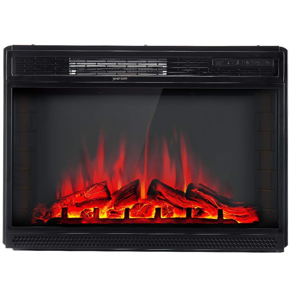 Amerlife Electric Fireplace Insert 28 -Electric Fireplace Heater with Remote Control Freestanding Recessed fireplaces, 750 1500W, Black