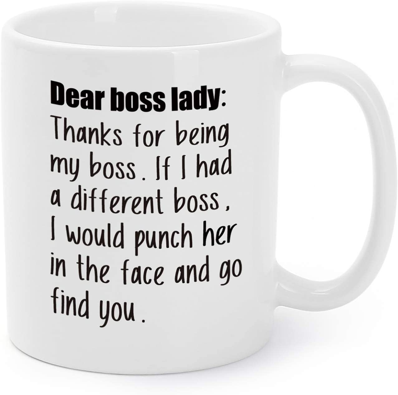 Mugaholics Boss's Day Gift Mugs Thanks For Being My Boss Coffee Cups Christmas/Birthday/White Elephant/Office Holiday Party Presents/Gag Gifts Tea Cups For Girls/Ladies/Madams/Women 11 Oz BS-3