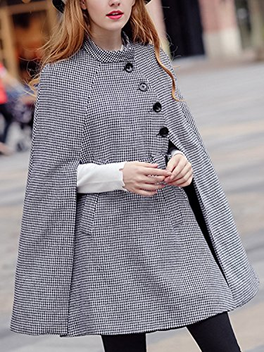 Black Houndstooth Belted Waist Cape Coat with Side Pockets S by Clothink (Image #3)