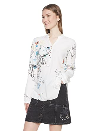 Desigual Damen Bluse Words  Amazon.de  Bekleidung 5b9ef41bfd8