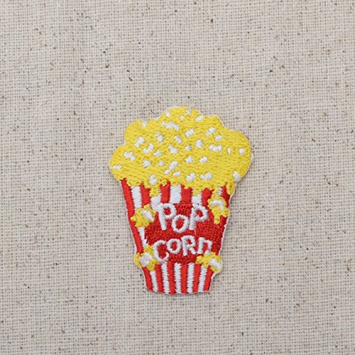 Movie Style Popcorn - Junk Food - Iron on Embroidered Patch Applique