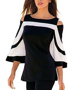 FIYOTE Femmes T-Shirt Eté Casual Manches Courtes Epaule Nu Tunique Chemise Blouse Pull Mode Noir EU50-52 XXL