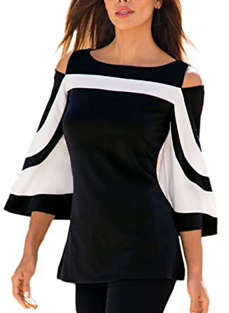 b860c7f850c Itsmode Womens Cold Shoulder 3 4 Bell Sleeve Colorblock Plus Size Blouses  Tops with Pockets T-Shirt at Amazon Women s Clothing store