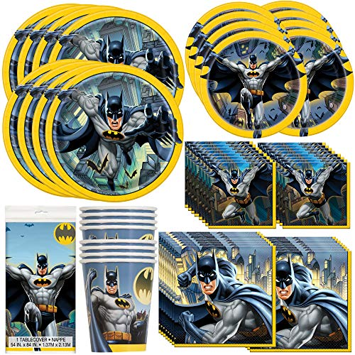 Unique Batman Party Bundle | Luncheon & Beverage Napkins, Dinner & Dessert Plates, Table Cover, Cups | Great for Superhero/Comics/Action Birthday Themed Parties -