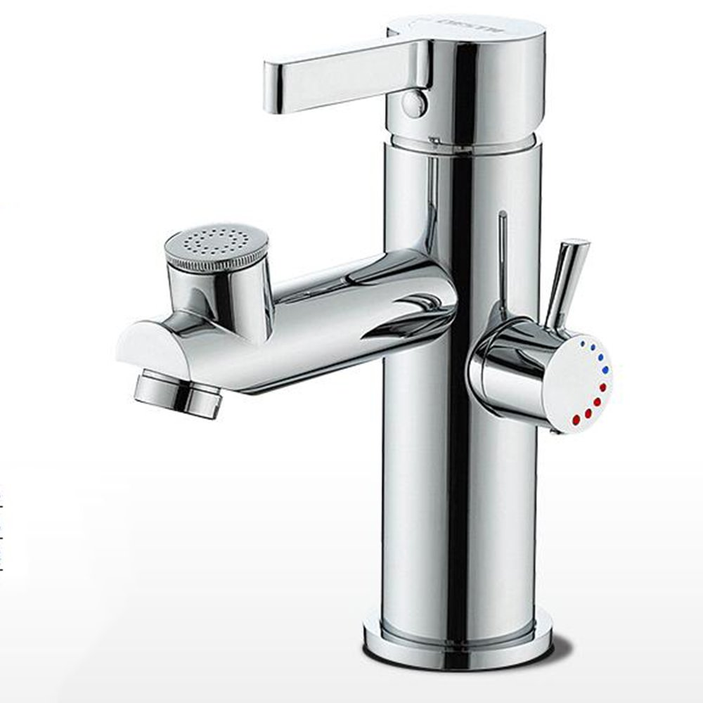 WHYDIANPU Full copper bathroom basin faucet, double mode water wash face wash hot and cold water faucet Home faucet