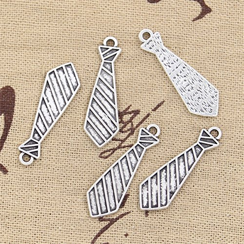 (50pcs Charms Necktie tie 30x9mm Antique Making Vintage Tibetan Silver Zinc Alloy Pendant )