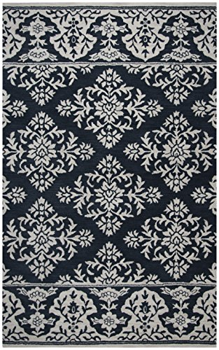 Rizzy Home | Marianna Fields Collection | Wool | Navy/Ivory Medallion with Boarder Damask Area Rug | 5' x 8'