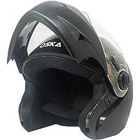 Steelbird SB-41 Oska Classic Flip Up Helmet Full Face Bike Riding Helmets For Man (580MM Medium, Classic Black With Plain Visor - Geared With Flip Up Down Feature -Aerodynamics Design)