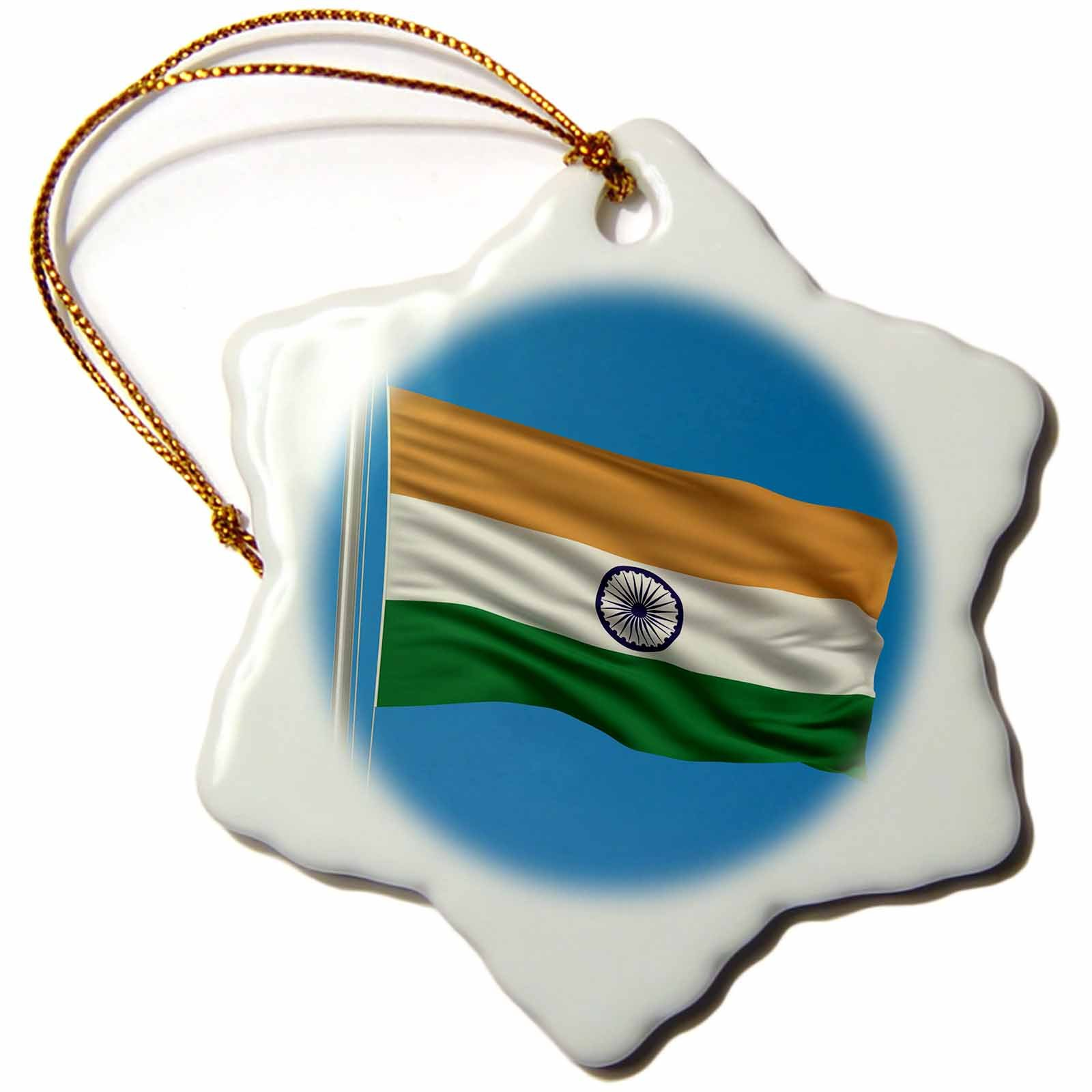 3dRose orn_157055_1 Flag of India on a Flag Pole with Blue Sky Indian Snowflake Ornament, Porcelain, 3-Inch