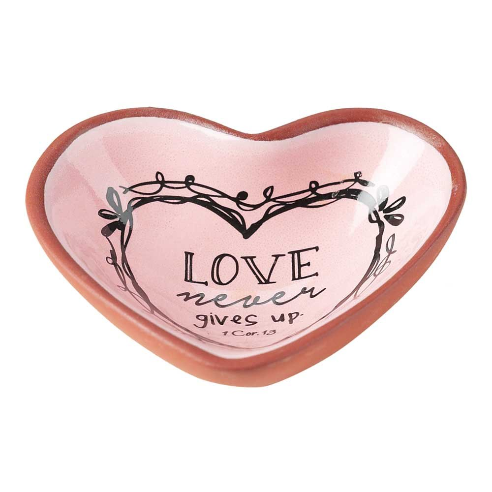 Love Never Gives Up Rose Pink 3 x 3 Terra Cotta Heart Shaped Decorative Bowl Tray
